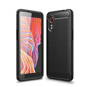 Taltech Samsung Galaxy Xcover 5 Brushed Carbon Fiber kuori - Musta
