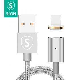 SiGN SiGN Magnetic 2.4A USB-A/ Lightning -kaapeli 1m - Hopea