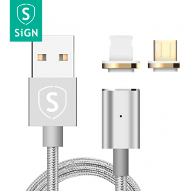 SiGN SiGN Magnetic 2-in-1 Lightning & Micro-USB, 2.4A palmikko 1m - Hopea